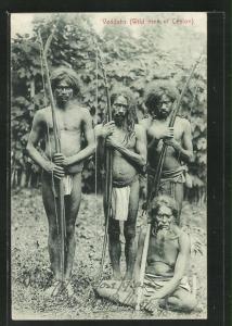 AK Sri Lanka, Veddahs, Einheimische Jäger im Lendenschurz mit Langbogen