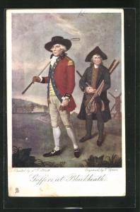 AK Blackheath, Golfspieler und sein Träger vor Windmühle, Goffers at Blackheath