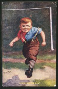 Künstler-AK Fussball, Junge rennt aus dem Tor, A Dash for the Ball