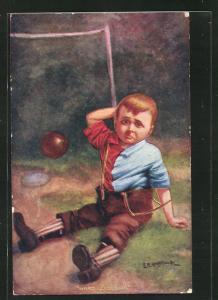 Künstler-AK Fussball, Junge sitzt erstaunt auf dem Boden und reibt sich den Kopf, Ball fliegt ins Tor, Hard Luck, Sir