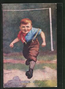 Künstler-AK Fussball, Junge rennt voller Eifer aus dem Tor, A Dash for the Ball