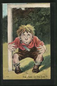 AK Fussball, Junge mit weit aufgerissenen Augen steht im Tor, The Hope of His Side