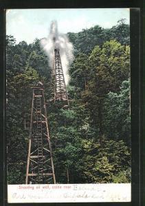 AK Erdöl, Bohrtürme im Wald, Shooting oil well, scene near