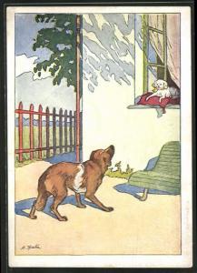 Künstler-AK Fabel von Krylow, Grosser Hund bellt ein Schosshündchen an