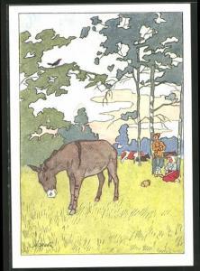 Künstler-AK Fabel von Krylow, Bauern mit ihrem Esel am Waldrand