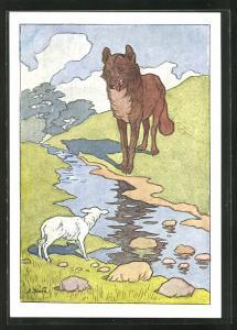 Künstler-AK Fabel von Krylow, Wolf und Lämmchen am Fluss