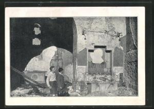AK Eibingen, Brandkatastrophe 1932, Links der ehemalige Hochaltar, Rechts der zerstörte Hildegardisaltar