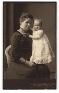 Fotografie H. Schlitzberger, Pyrmont, Portrait Dame mit Kleinkind