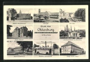 AK Oldenburg, Trolly-Bus Wendestelle, -Haus, Bahnhof