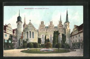 AK Merseburg, Schlosshof mit Dom