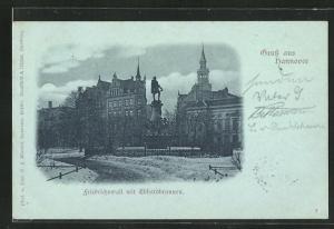 AK Hannover, Friedrichswall mit Ebhardbrunnen