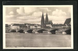 AK Frankfurt / Oder, Teilansicht mit Oderbrücke