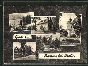 AK Basdorf, Karl-Marx-Platz, Waldsiedlung, Dorfkirche