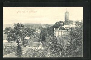 AK Schönburg / Saale, Teilansicht mit Burg