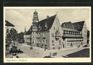 AK Aschersleben, Strassenpartie am Rathaus