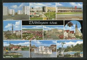 AK Böblingen / Württ., Sporthalle, Bus-Bahnhof, Freibad