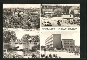 AK Premnitz, Teilansicht, Bootshafen, Wilhelm-Pieck-Oberschule