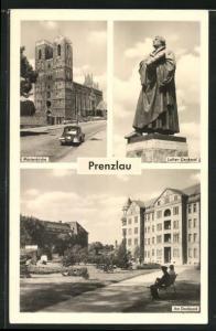 AK Prenzlau, Marienkirche, Luther-Denkmal, Am Stadtpark
