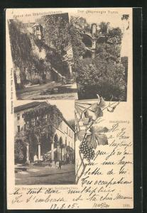 AK Heidelberg, Brunnenhalle am Soldatenbau, Der gesprengte Turm