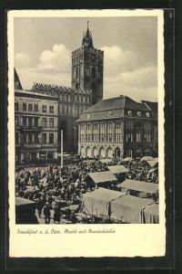 AK Frankfurt a. Oder, Markt mit Marienkirche