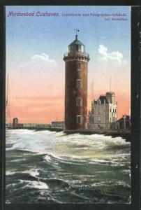 AK Cuxhaven, Leuchtturm & Telegraphen-Gebäude bei Sturmflut