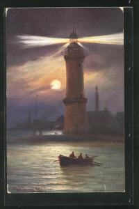AK Warnemünde, Leuchtturm bei Nacht