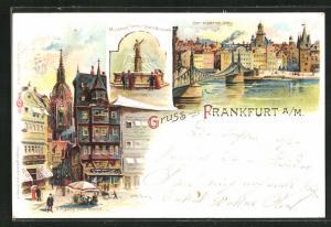 Lithographie Alt-Frankfurt a / M., Manskopf Gerechtigkeits Brunnen, Der eiserne Steg, Eingang zum Markt