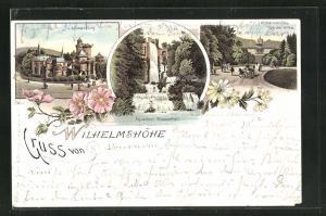 Lithographie Wilhelmshöhe, Teilansicht von der Allee, Löwenburg, Aquaduct Wasserfall