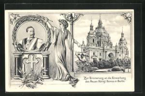 Lithographie Berlin, Zur Erinnerung an die Einweihung des Neuen Königlichen Domes, Portrait Kaiser Wilhelm II.