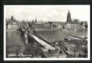 AK Frankfurt, Eiserner Steg, Brücke über den Main