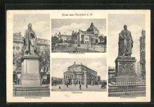 AK Frankfurt, Schauspielhaus, Opernhaus, Schillerdenkmal, Goethedenkmal