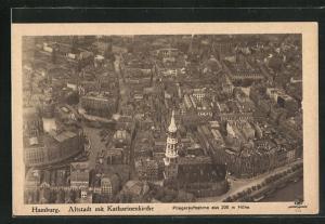 AK Hamburg, Altstadt mit Katharinenkirche vom Flugzeug aus