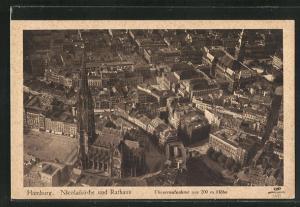 AK Hamburg, Nicolaikirche und Rathaus, Fliegeraufnahme