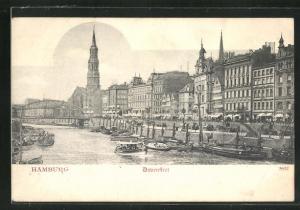 AK Alt-Hamburg, Dovenfleet, Blick auf Kirche, Häuserfassaden und Brücke am Zollkanal