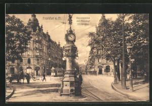 AK Frankfurt, Kaiserstrasse mit Manskopf Uhrtürmchen, Strassenbahn