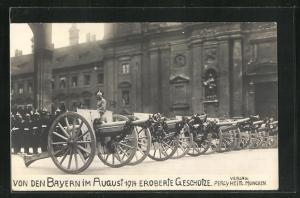 AK München, von den Bayern im August 1914 eroberte Geschütze