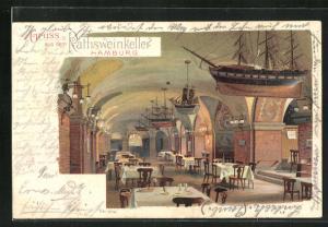 Lithographie Hamburg, Rathsweinkeller, Innenansicht mit Segelschiffsmodellen unter der Decke