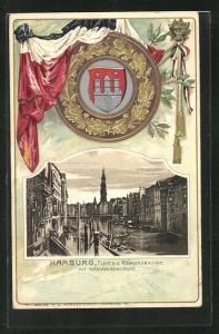 Präge-Passepartout-Lithographie Alt-Hamburg, Fleet b. d. Reimersbrücke mit Katharinenkirche