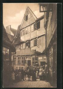 AK Alt-Hamburg, Anberg Nr. 8 mit Anwohnern