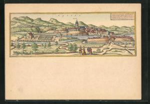 Künstler-AK Kassel, Alte Ansicht der Stadt anno1580