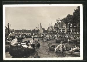 AK Hamburg-Uhlenhorst, Boote in der Bucht vor dem Uhlenhorster Fährhaus