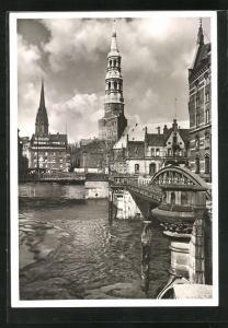 AK Alt-Hamburg, Blick zur St. Catharinen-Kirche