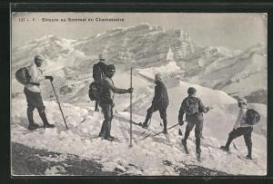 AK Chamossaire, Skieurs au Sommet, Skifahrer in den Bergen