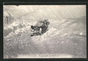 AK En Bob-Sleigh, Schlittenfahrer auf der Rodelbahn