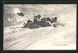 AK Sport d`Hiver, Schlittenfahrer auf der Rodelbahn