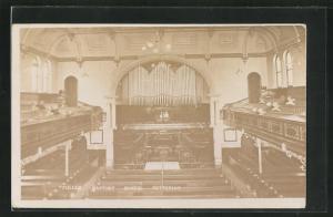 AK Fuller Babtist Chapel Kettering, Orgel und Zuschauertribüne