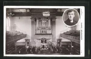 AK Kensington, Chapel, Rev. Thomas Yeates, Orgel und Zuschauertribüne