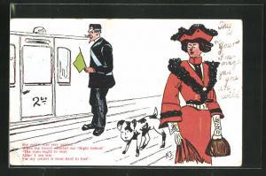 AK Limerick, Schaffner mit Fahne, Frau mit Hund