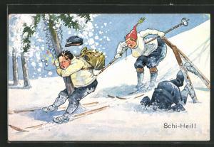 AK Ski-Fahrer landet am Baum