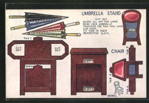 AK Umbrella Stand, Chair, Regenschirm und Stuhl zum Ausschneiden